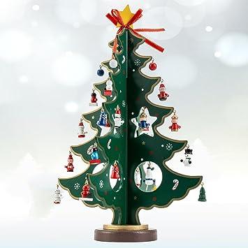 Hotbesteu Weihnachtsbaum Holz Tannenbaum Kreatives Weihnachtsdeko  Weihnachtsbaumschmuck DIY Weihnachten Haus Tisch Deko (tannengrün, 36cm