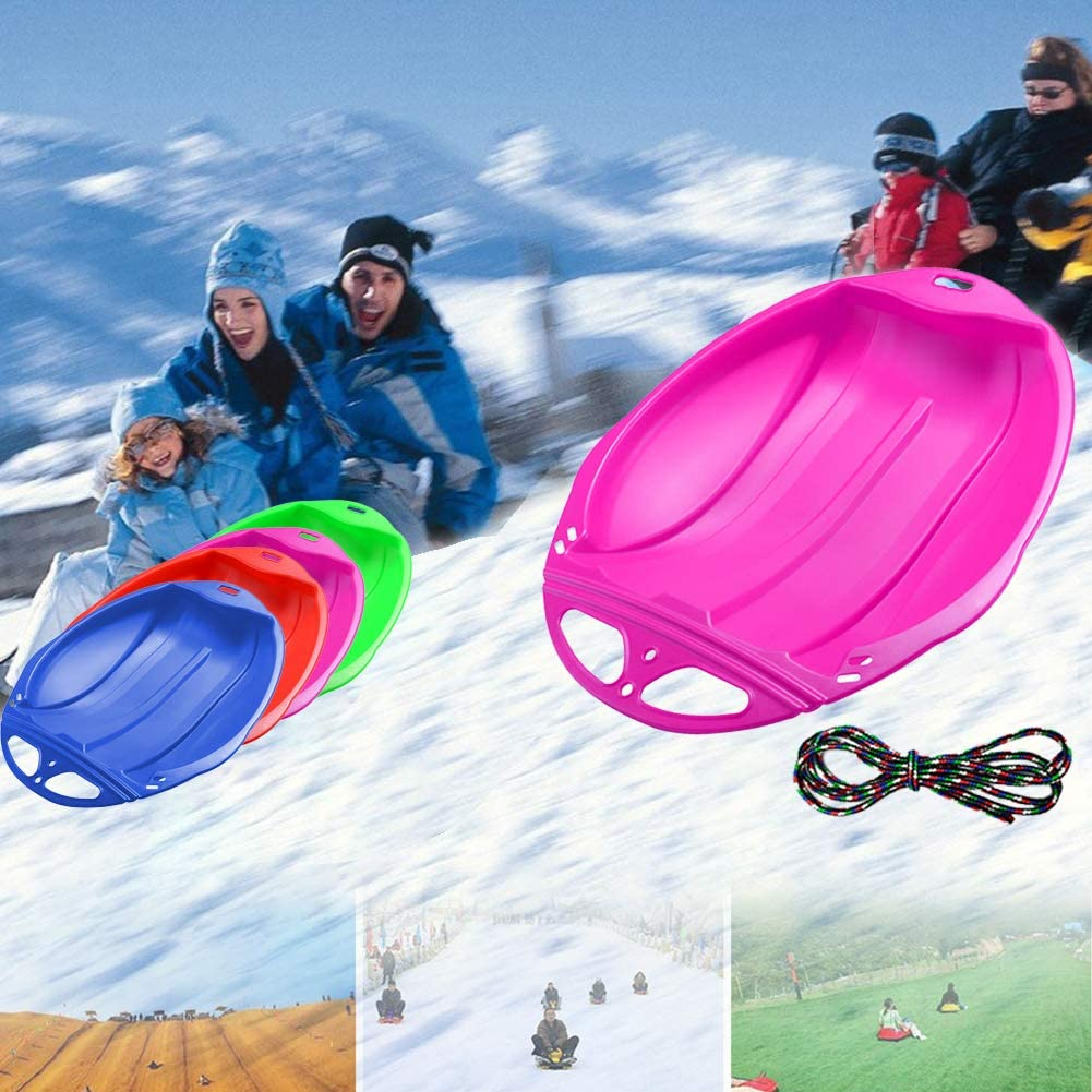 Unigant Childrens Sleigh Downhill Plastic Toboggan Snow Sled Kids Plastic Snow Sleds with Pull Rope Winter Comfortable Toboggan Skiing Tools for Grass Skiing//Sand Boarding//Skiing