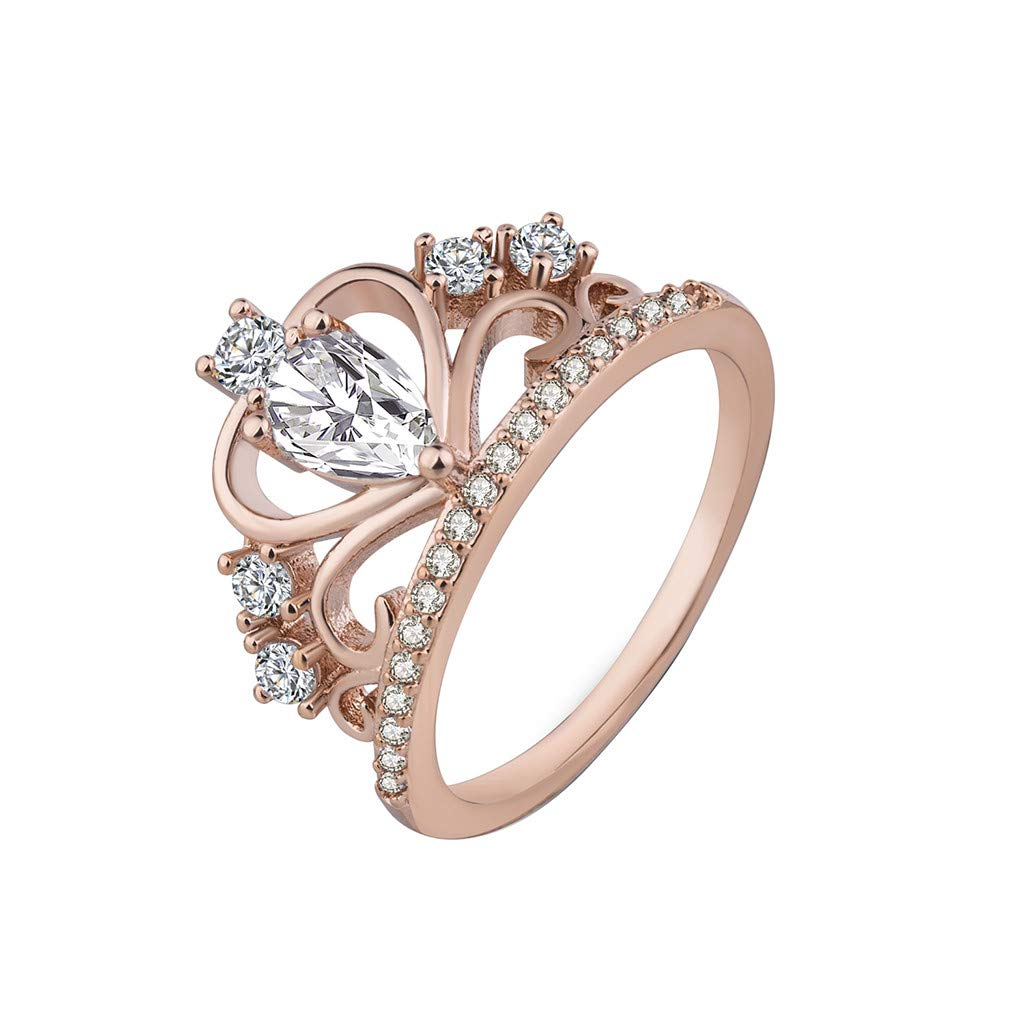 Booboda JJZ231 Simple Rhodium-Plated Ring, Boutique Fashion Crown Zircon Ring, Diamond-Studded Wedding Ring(Rose Gold7#)