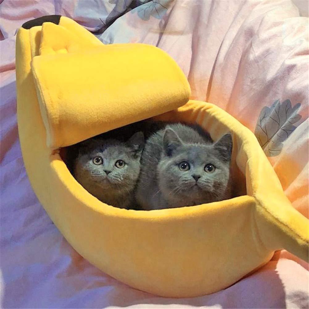 Nordira Cama para Mascotas con Forma de plátano, Suave, cálida ...