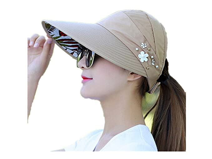 Image Unavailable. Image not available for. Color  TTKBHHQ Womens Sun Hat  Summer Beach Hat Foldable Wide Brim Reversible ... 9b58606c9e83