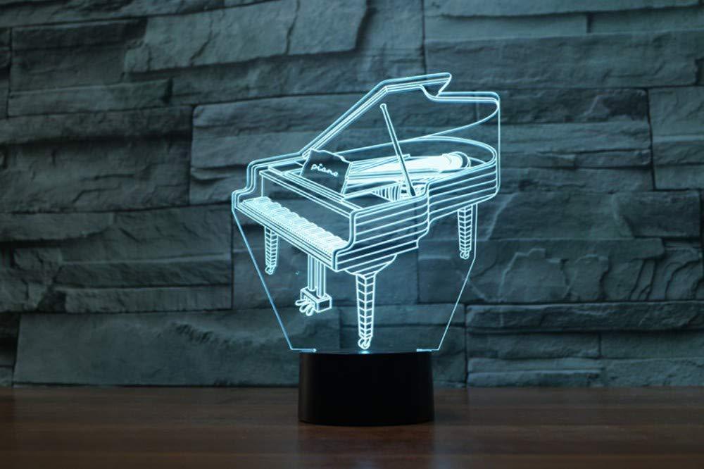Lámpara 3D Optica Led de luz nocturna, 7 colores, piano, control remoto táctil Interruptor de la lámpara, batería USB/AA, oficina de adultos: Amazon.es: Iluminación
