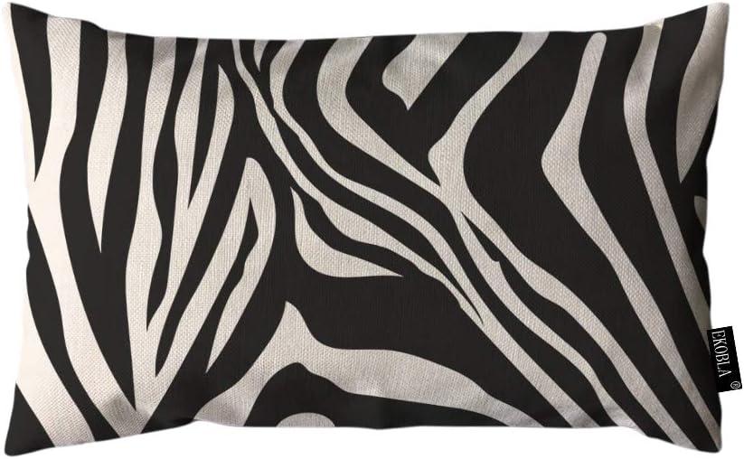 EKOBLA Throw Pillow Cover Zebra Stripes Black and White Zebra Print Animal Pattern Skin Abstract Art Rectangular Throw Pillow Covers for Couch Sofa Home Decor Cotton Linen 12x20 Inch