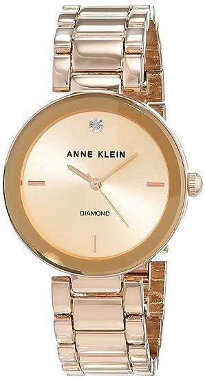Anne Klein AK/N1362RGRG - Reloj para Mujeres, Correa de Acero Inoxidable Color Oro Rosa: Amazon.es: Relojes