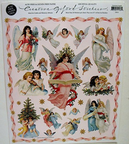 Gifted Line Stickers - Christmas Angels Victorian Scrapbook Stickers 1 Sheet By John Grossman