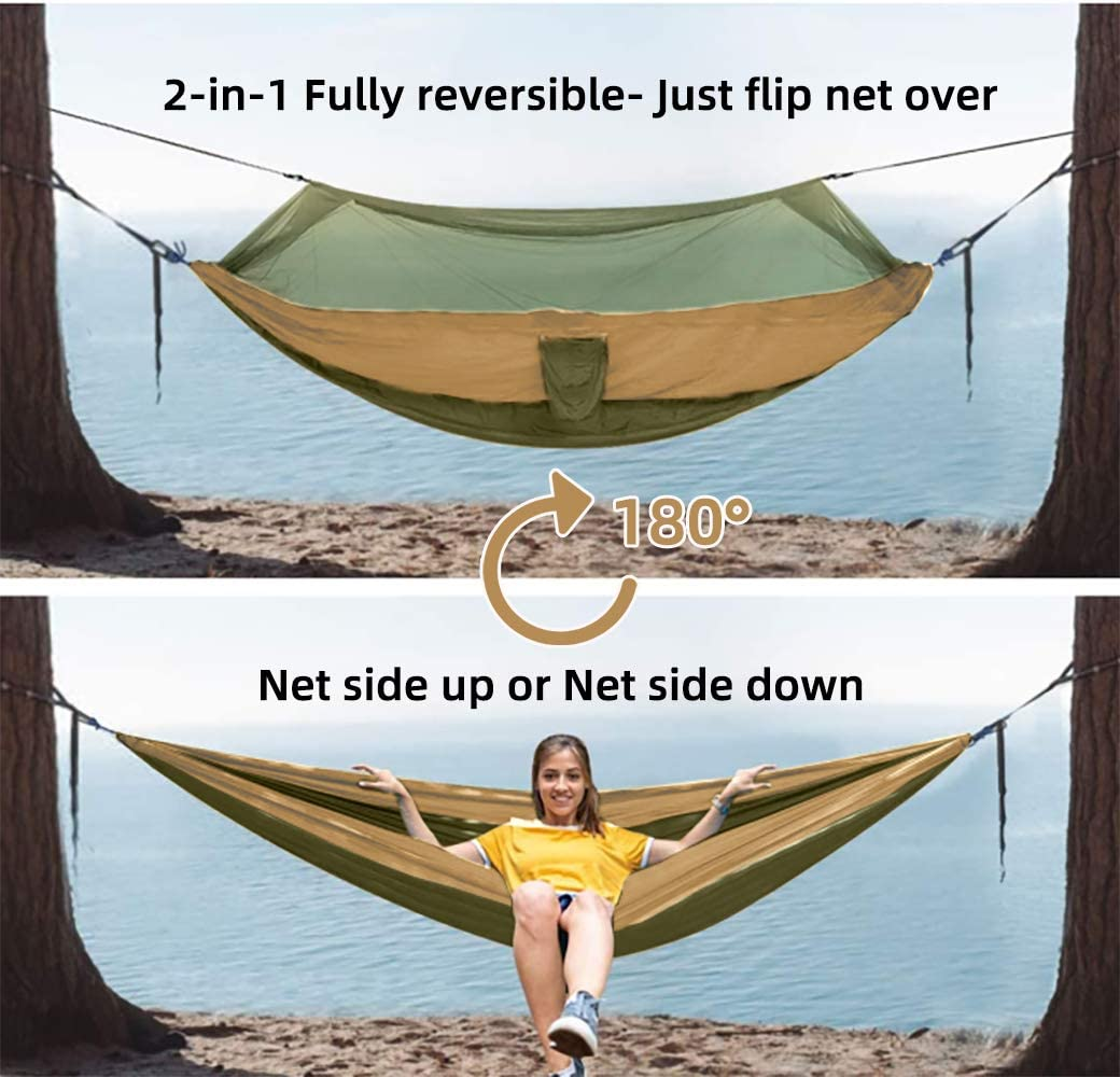 LOVE STORY Double /& Single Camping Hammock with Mosquito Net Portable /& Lightweight Tree Straps Easy to Hang Indoor Outdoor Olive,2 in 1 Multifunction
