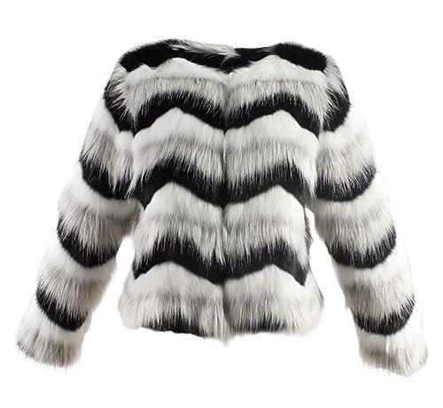 VLUNT Abrigo de Pelo para Mujer Escudo Raya Ondulado Abrigo Felpa Chaqueta Fur Coat
