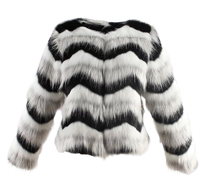 0099eed43924c Vlunt Femmes Manteau à Noir et Blanc Rayée Texturée de Fausse Fourrure  Longue Cheveux Imitation Fourrure