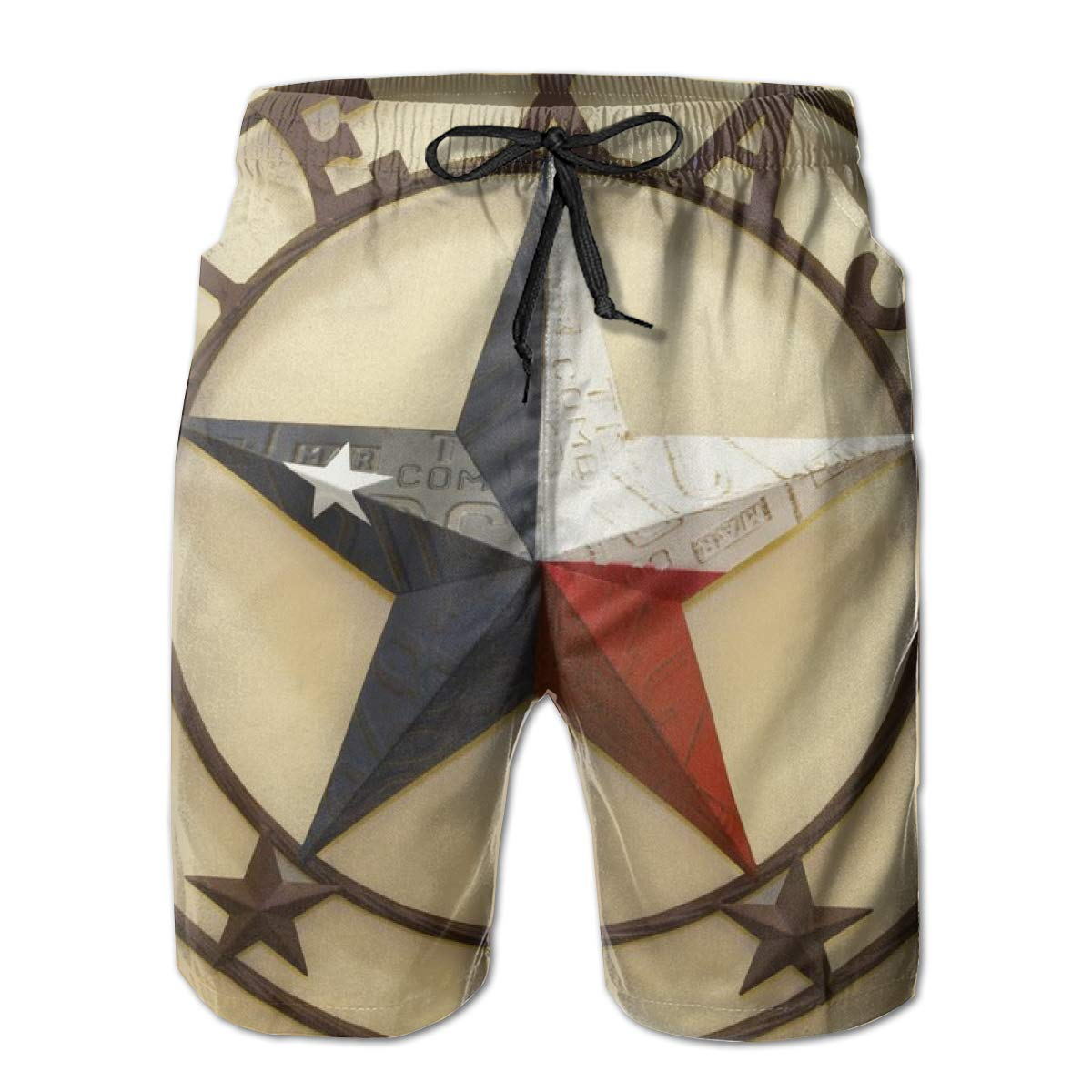 Western Texas Stars Mens Swim Trunks Quick Dry Bathing Suits Beach Holiday Party Swim Shorts