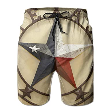 fa361a9d037 Western Texas Stars Men's Swim Trunks 3D Printed Beach Board Shorts with  Pockets Novelty Bathing Suits