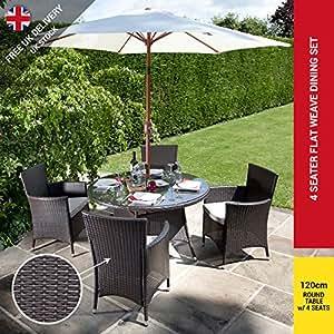 Rosario - Juego de muebles de jardín con 4 sillas, ratán, cojines para los asientos incluidos