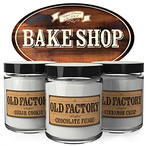 Scented Candles - Bake Shop - Set of 3: Sugar Cookie, Chocolate Fudge, and Cinnamon Crisp - 3 x 4-Ounce Soy Candles - Each Votive Candle is Handmade in the ()