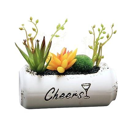 htmeing suculentas plantas Artificial Creative Bonsai blanco botella de cerámica maceta macetas Cactus falsos para la