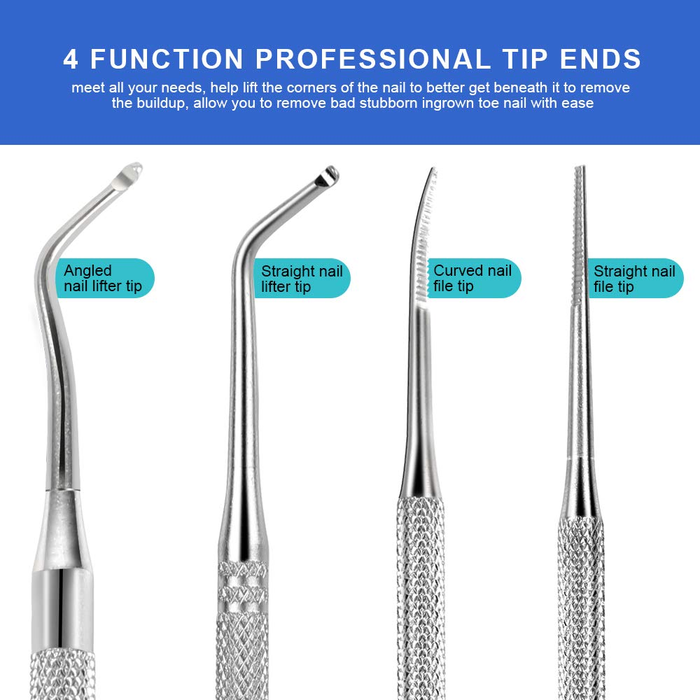 3pcs Ingrown Toenail File And Lifters, [ Upgraded ] Teenitor Professional Surgical Safe Nail Treatment Pedicure Tool Kit Under Nail Cleaner Tools Pain Relief: Beauty