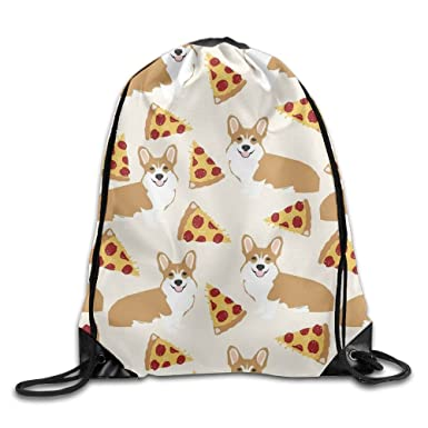 18d43a6cfc30 Corgi Pizza Cream Cute Gym Sack Bag Drawstring Backpack Sport Bag ...