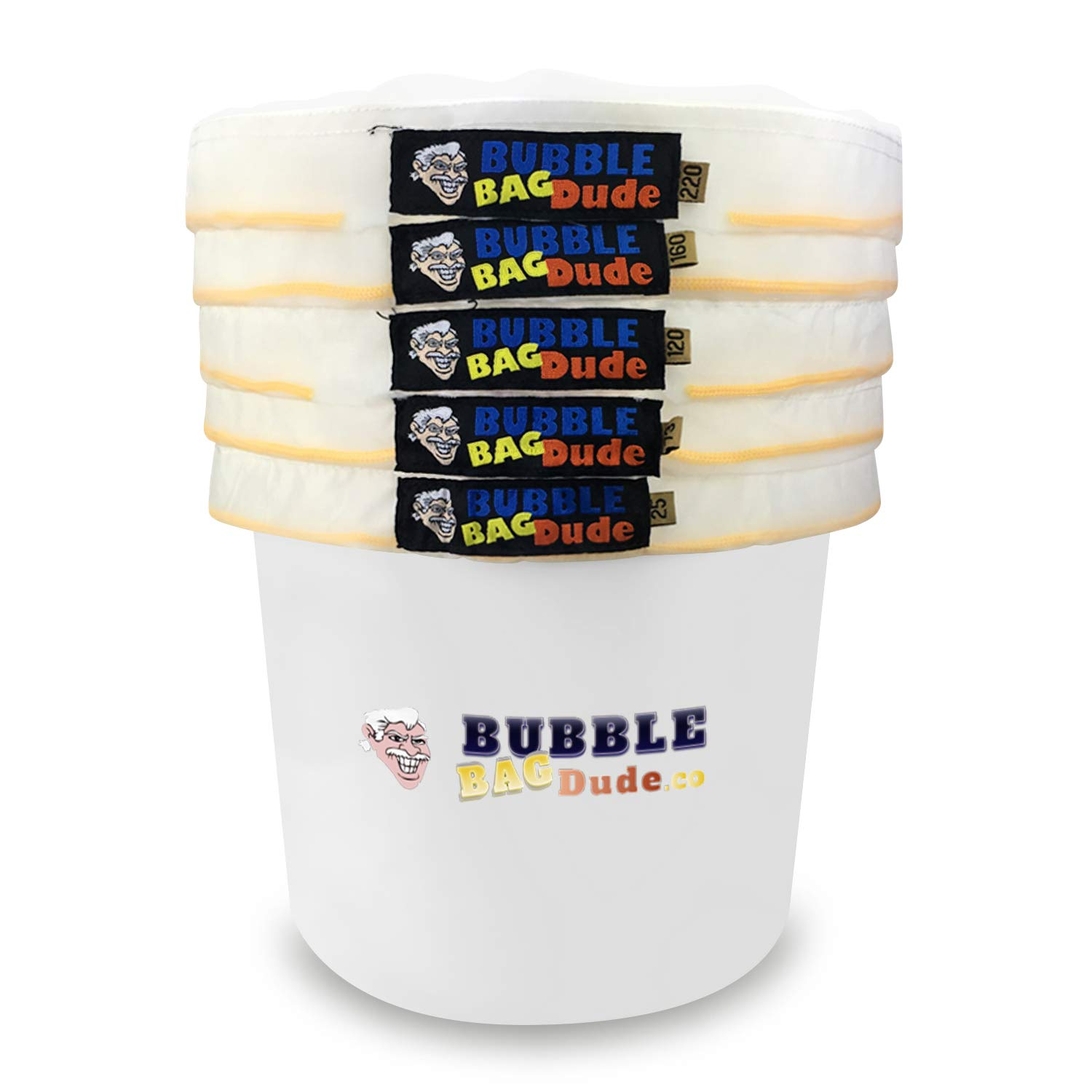 BUBBLEBAGDUDE Bubble Bags All Mesh 5 Gallon 5 Bag Herbal Hash Ice Bubble Bag Extractor Kit - Comes with Pressing Screen and Storage Bag from