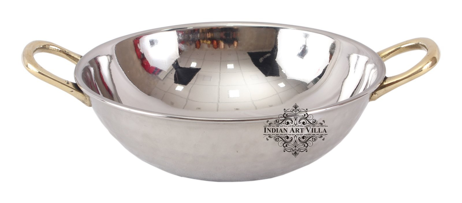 IndianArtVilla S/S Double Wall Kadai Wok Brass Round Handle|690 ML Capacity|Serving Dishes