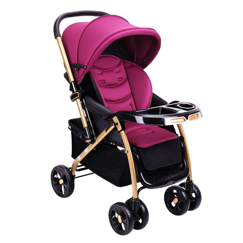 赤ちゃんのベビーカーはリクライニングすることができます軽量折りたたみベビーカー高地の子供のベビーカー(青)(紫)80 * 57 * 110cm ( Color : Purple ) B07BT5H8MS