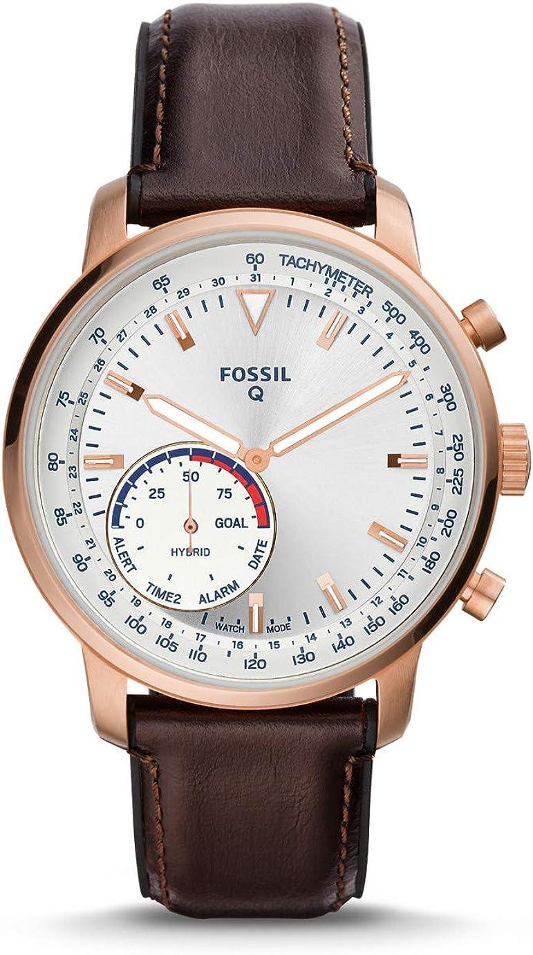 Fossil Q Reloj Goodwin Smartwatch híbrido con de Cuero marrón para Hombre (FTW1172)