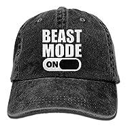 AZNM Unisex Washed Beast Mode On Funny Denim Baseball Cap Adjustable Hunting Hat