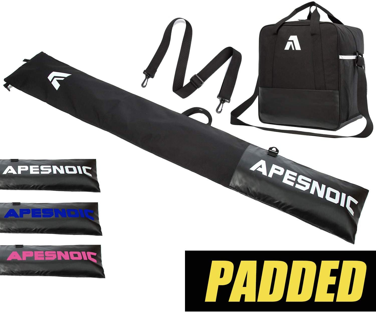 APESNOIC Padded Ski Bag and Boot Bag Combo,Store Transport Skis Up to 195 cm and Boots Up to Size 13, Two-Piece Water-Resistant Ski Travel Bags.
