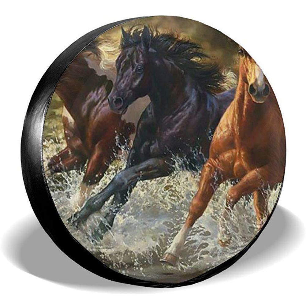 Bella Pittura per Cavalli Art Fit per rimorchio Camper Copriruota di scorta Copriruota per Pneumatici SUV e Molti Veicoli 14-17inch