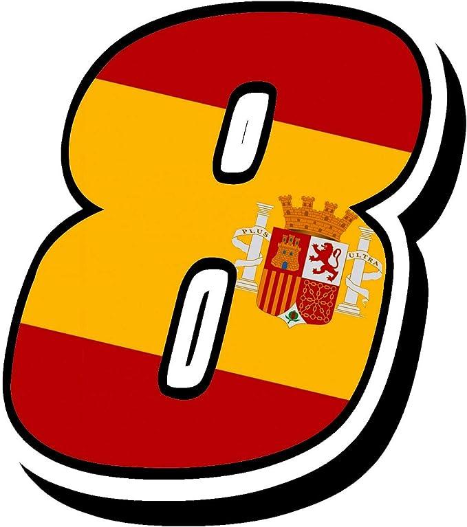 Biomar Labs® Número 8 Bandera Nacional España Spain Calavera Vinilo Adhesivo Pegatina Coche Auto Motocross Moto Sport Start Racing Tuning N 288: Amazon.es: Coche y moto