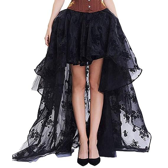Mxssi Mujer Steampunk Corset Falda Negro Floral Midi Skater Falda ...