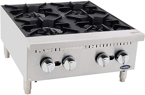 Hornillo de cocina de gas comercial independiente de 24 pulgadas con 4 quemadores, Quemador de placa de gas de acero inoxidable Cook Rite 100000 BTU