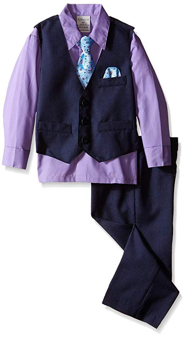 Perry Ellis Little Boys' Fine Pindot Vest Set, Purple Thistle, 5 by Perry Ellis (Image #1)