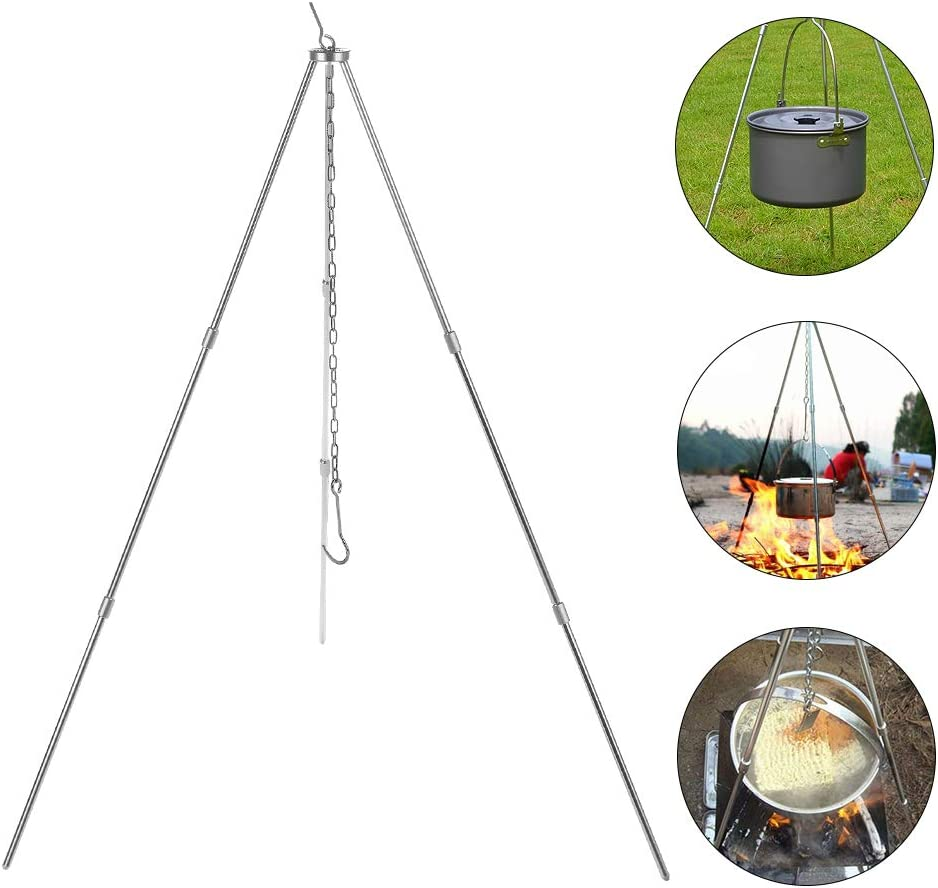 Mokylor Portable Tripod,Adjustable Chain Foldable Triangle Grill with Storage Bag,Outdoor Camping Picnic Cooking Equipment BBQ Barbecue