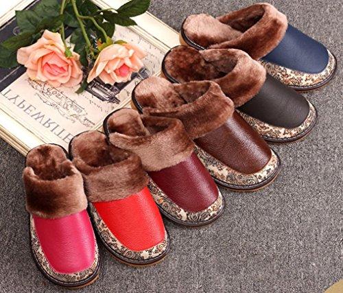 Pantofole Da Donna Cattior Foderate In Pelliccia Calde Pantofole In Pelle Pu Rosso