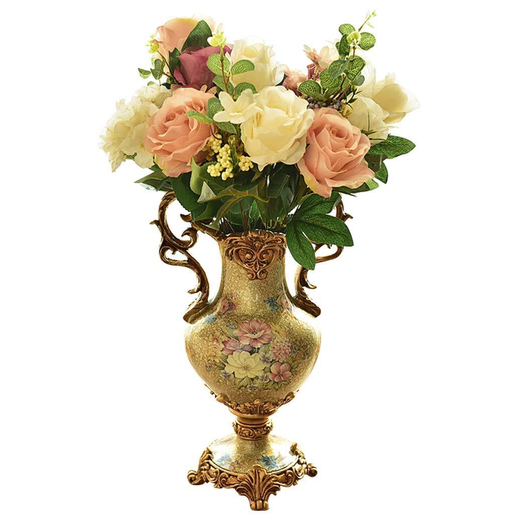 花瓶飾りダイニングルームリビングルームスタディフラワーホームクリエイティブフラワーアレンジメント LCSHAN (Color : Ceramic-Metallic, Size : 39.5cm*17cm) B07SZBNV16 Ceramic-Metallic 39.5cm*17cm