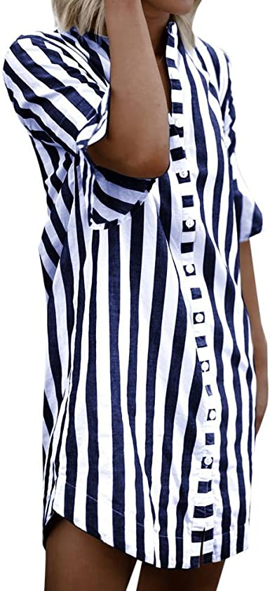 Camisas Mujer,Blusas Larga Mujer,👕Camisa a Rayas con Manga de Cuerno de Mujer,Tops Media Manga Mujer,Vestidos Mujer Fiesta,Vestidos Largo Mujer,Camisetas Mujer por Venmo: Amazon.es: Ropa y accesorios