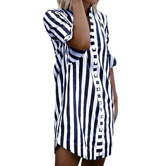 Camisas Mujer,Blusas Larga Mujer,👕Camisa a Rayas con Manga de Cuerno de