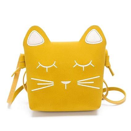 c9eb1d46af9b Girls' Cute Kitty Purse Crossbody Shoulder Bags Hosamtel PU Leather Cat Ear  Bag (Yellow)