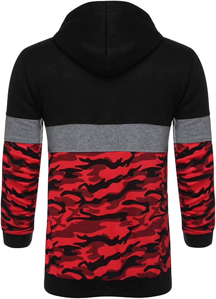KIKOY Mens Soft Cotton Camouflage Pullover Long Sleeve Hooded Sweatshirt Tops