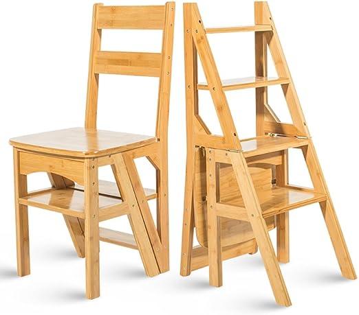 PENGYIZI HAIPENG Escalera De Madera Bambú Taburete Silla Estante Asientos Stands Plegable Sólido 4 Pasos De Doble Uso Muebles De Utilidad 39.5x39.5x90cm (Color : Amarillo): Amazon.es: Hogar