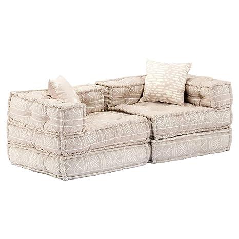 vidaXL Sofš¢ cama modular de 2 plazas de tela beige: Amazon ...