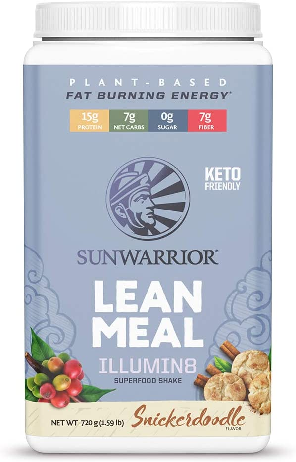 Sunwarrior Lean Meal illumin8 Vegan Superfood Meal Replacement Powder with Probiotics, Organic, Plant-Based (Snickerdoodle, 720)