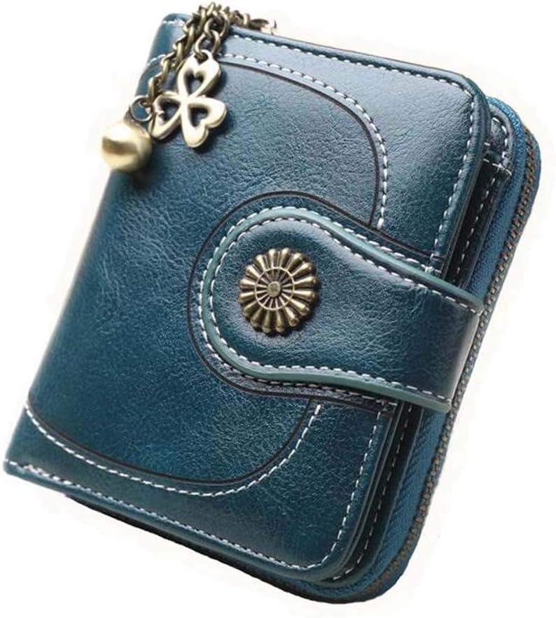 Coopay Monedero pequeño compacto Mini billetera de cuero PU para mujer, Regalo de niña adolescente, Titular inteligente Hoja de embrague Monedero Titular Tarjeta con Mandala magnético Azul marino