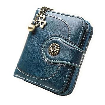 Coopay Monedero pequeño compacto Mini billetera de cuero PU para mujer, Regalo de niña adolescente, Titular inteligente Hoja de embrague Monedero ...