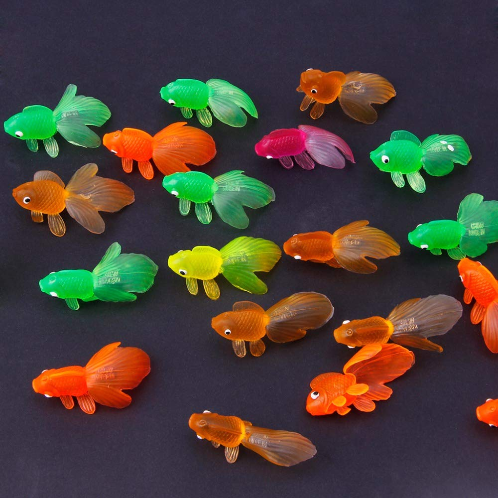 Hbb 20pcs Rubber Simulation Small Goldfish Gold Fish Kids Toy Decoration Bath Toy Bath Toy Classic Toys