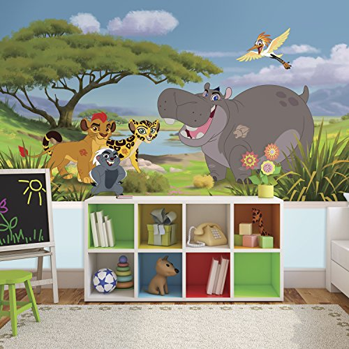 RoomMates JL1382M Lion Guard XL Chair Rail Prepasted Mural 6' X 10.5' - Ultra-Strippable Multicolor ()