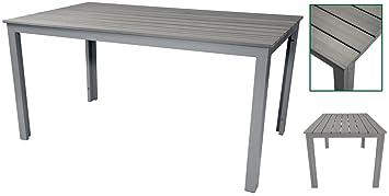 Amazon De Unbekannt Gartentisch 150 X 90 X 75 Cm Grau Alu Aluminium