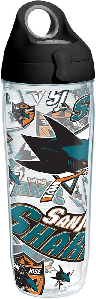 Tervis 1266021 NHL San Jose Sharks All Over Tumbler with Wrap and Black with Gray Lid 24oz Water Bottle, Clear