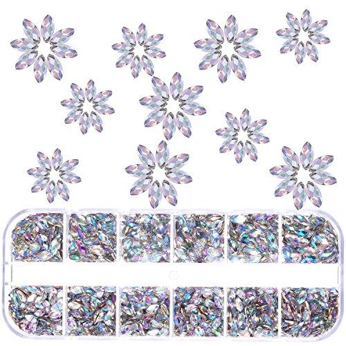 TecUnite 1300 Pieces Nail Rhinestones with Box Horse Eye Rhinestones Flat Back Nail Art Gems Decorations Supplies (Clear AB)
