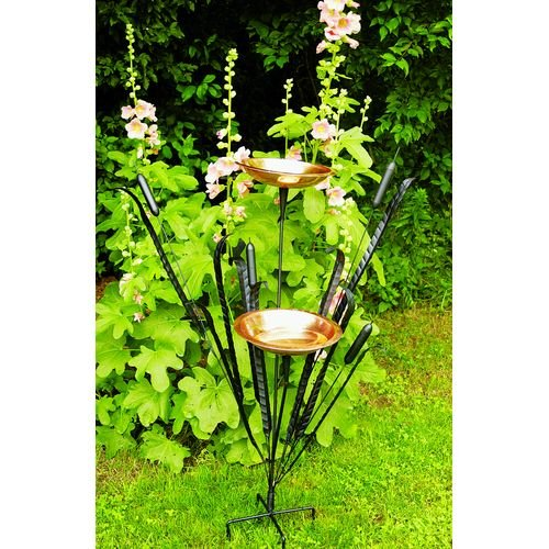 Achla Garden Patio Decor Black Wrought Iron Single Cattail Birdbath Decorative Outdoor Bird Feeders