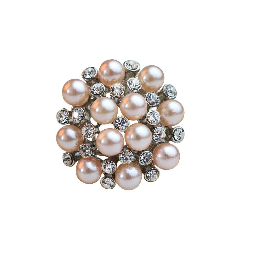 Tinksky Foulard en soie foulard bague Clips boucles perle Diamante Scarf anneaux (argent) T1501155DLAZ5476