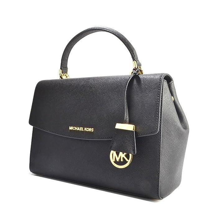 b13956b70038 MICHAEL Michael Kors Ava Medium Black Textured Leather Satchel one size  Black: Amazon.co.uk: Shoes & Bags